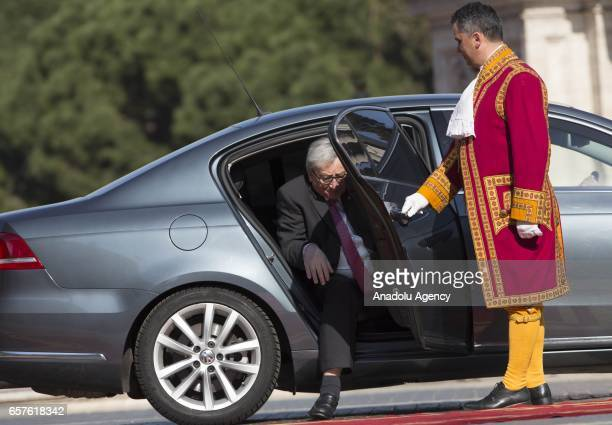 Commission JeanClaude Juncker arrives for a ceremony marking the EU's 60th anniversary of the Treaty of Rome at the Campidoglio in Rome Italy on...