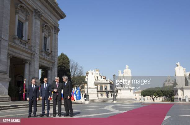 Commission JeanClaude Juncker poses with Malta's Prime Minister and EU's rounding President Joseph Muscat EU Council's President Donald Tusk and...