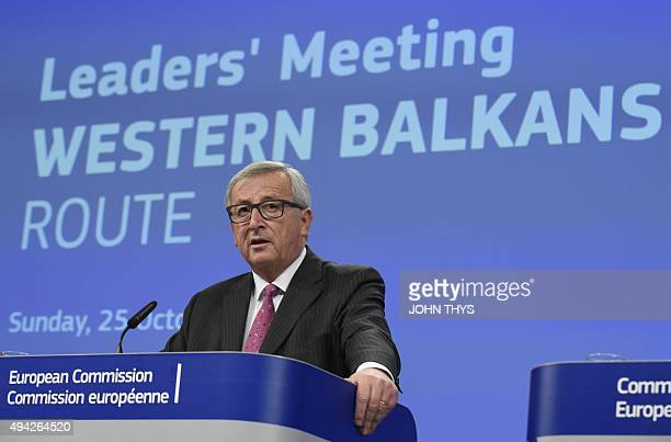 EU Commission President Jean Claude Juncker gives a press conference during the EUBalkans mini European Summit on October 25 2015 at the EU...