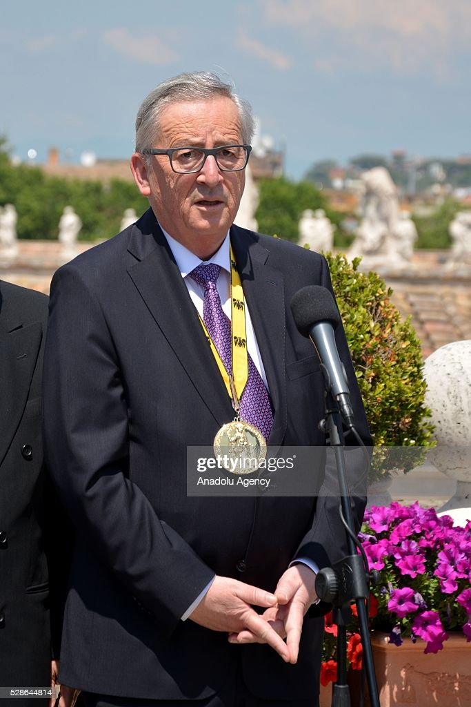 EU Commission president Jean-Claude Juncker speaks during a press conference on the Charlemagne Prize 2016, in Vatican City on May 06, 2016. Pope Francois has been awarded the 2016 International Charlemagne Prize.