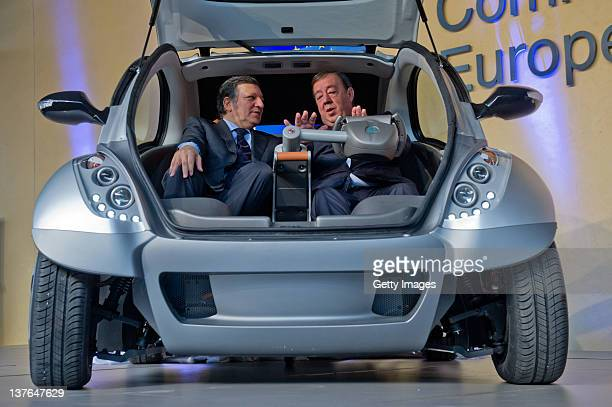 Commission President Jose Manuel Barroso and Jesus Echave chairman of the HIRIKOAFYPAIDA corporate consortium sit in the first prototype of the...