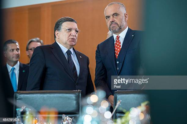 EU Commission President Jose Manuel Barroso and Prime Minister of Albania Edi Rama at the opening of the German government Balkan conference at the...