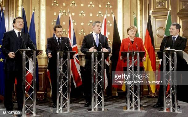 EU Commission President Jose Manuel Barroso French president Nicolas Sarkozy British Prime Minister Gordon Brown German chancellor Angela Merkel and...