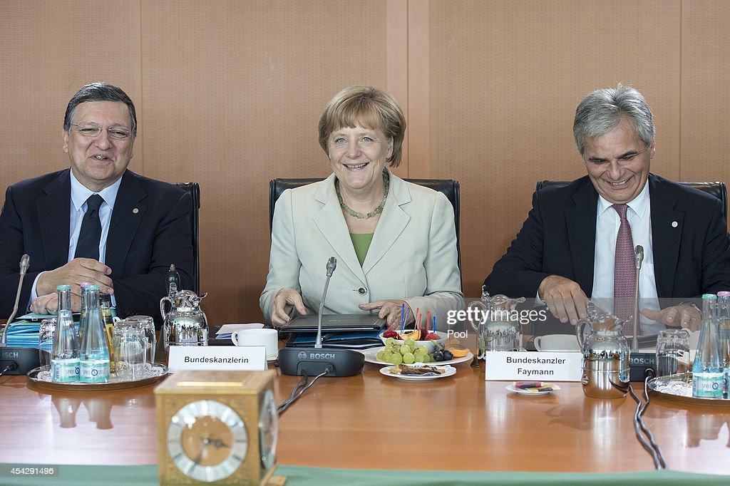 EU Commission President Jose Manuel Barroso, German Chancellor Angela Merkel and Federal Chancellor Werner Faymann at the opening of the German government Balkan conference at the Chancellery on August 28, 2014 in Berlin, Germany. The leaders of Albania, Kosovo, Croatia, Bosnia-Herzegovina, Slovenia, Serbia, Montenegro and Macedonia are participating in the conference that also includes Austrian Chancellor Werner Faymann and European Commission President Jose Manuel Barroso.