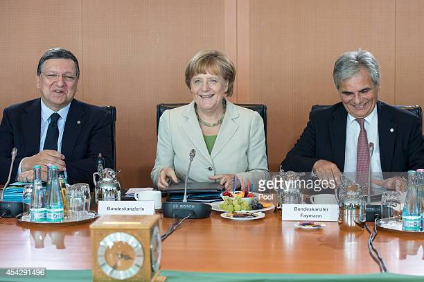EU Commission President Jose Manuel Barroso German Chancellor Angela Merkel and Federal Chancellor Werner Faymann at the opening of the German...