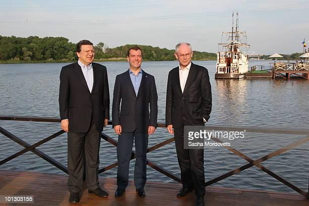 EU Commission President Jose Manuel Barroso Russian President Dmitry Medvedev and EU President Belgian Prime Minister Herman van Rompuy pose prior to...