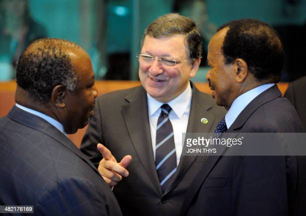 EU Commission President Jose Manuel Barosso talks with Gabon President Ali Bongo Ondimba and Cameroon President Paul Biya prior to the second day of...