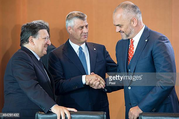 EU Commission President Jose Manuel Barroso with Prime Minister of Kosovo Hashim Thaci and Prime Minister of Albania Edi Rama at the opening of the...