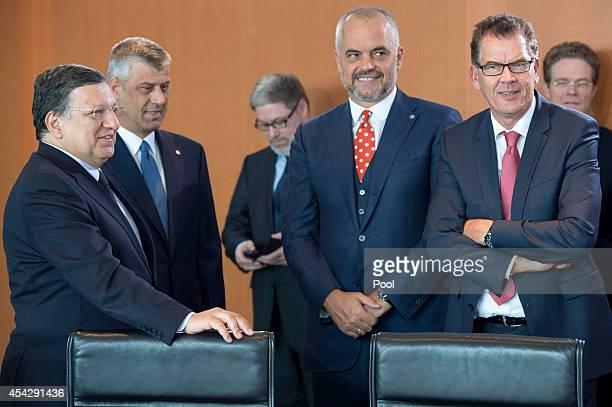 EU Commission President Jose Manuel Barroso with Prime Minister of Kosovo Hashim Thaci Prime Minister of Albania Edi Rama and Aleksandar Vucic at the...