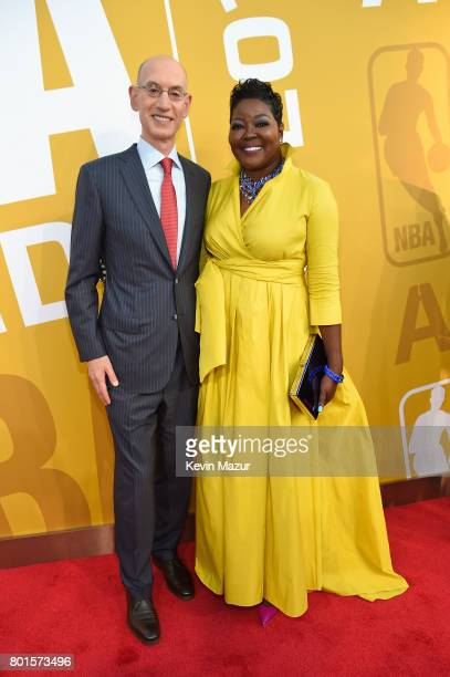 NBA commissioner Adam Silver and Wanda Durant attend the 2017 NBA Awards Live on TNT on June 26 2017 in New York New York 27111_002