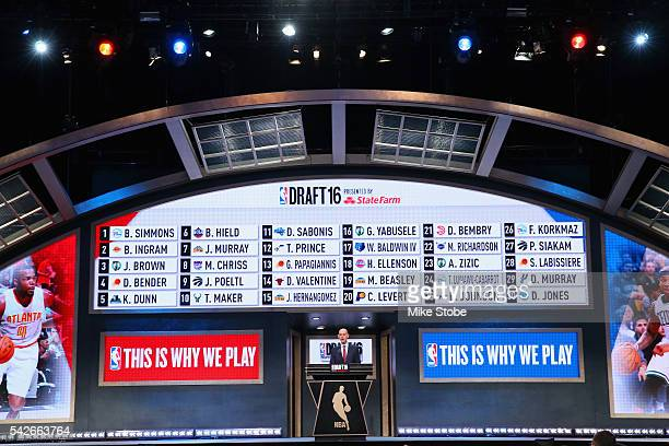Commissioner Adam Silver concludes the first round of the 2016 NBA Draft at the Barclays Center on June 23 2016 in the Brooklyn borough of New York...