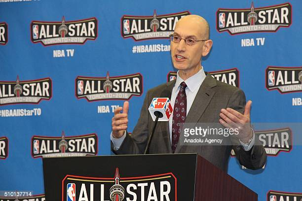 Commissioner Adam Silver gives a speech during a press conference before NBA AllStar Saturday Night at Air Canada Centre in Ontario Canada on...