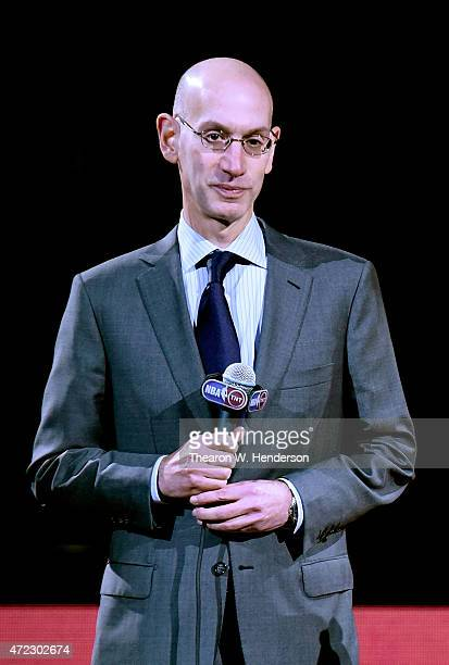 Commissioner Adam Silver is seen prior to presenting the 20142015 Kia NBA Most Valuable Player Trophy to Stephen Curry of the Golden State Warriors...