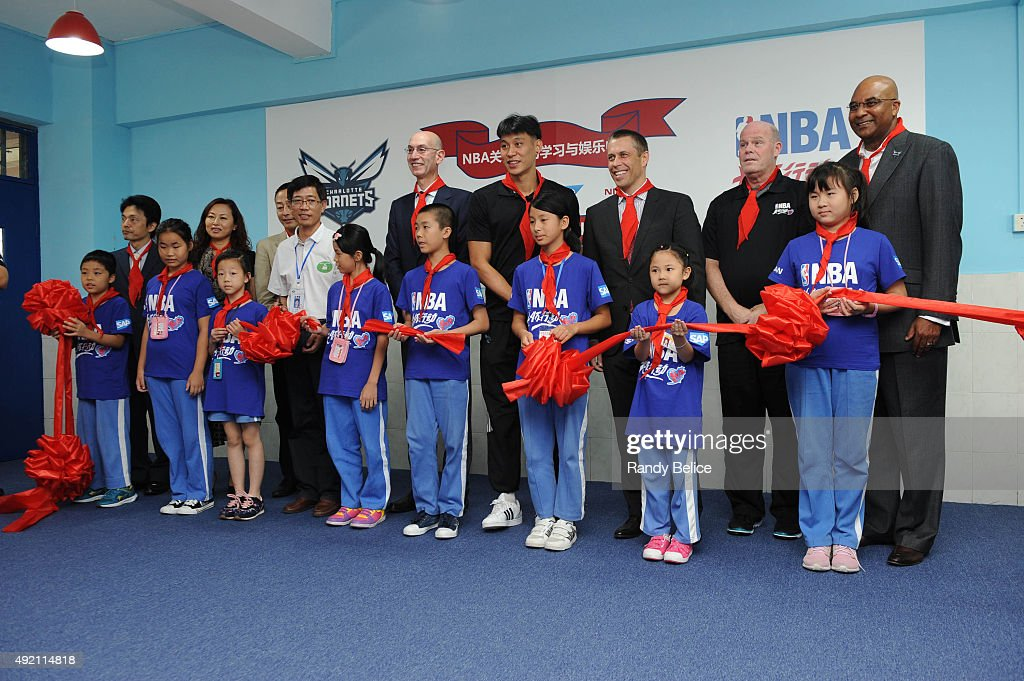 NBA Commissioner Adam Silver, Jeremy Lin, David Shoemake, CEO of NBA China and Head Coach Steve Clifford of the Charlotte Hornets does the ribbon cutting ceremony during the Shenzhen Learn and Cares dedication as part of the 2015 Global Games China at the Jianlian School on October 10, 2015 in Shenzhen, China.