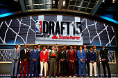 Commissioner Adam Silver poses for a photo with top prospects before the start of the First Round of the 2015 NBA Draft at the Barclays Center on...