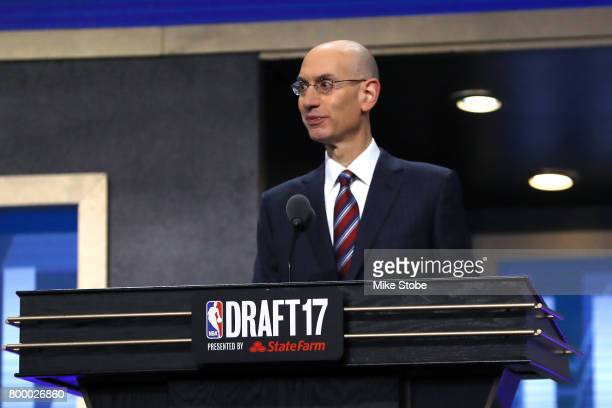 Commissioner Adam Silver speaks during the first round of the 2017 NBA Draft at Barclays Center on June 22 2017 in New York City NOTE TO USER User...