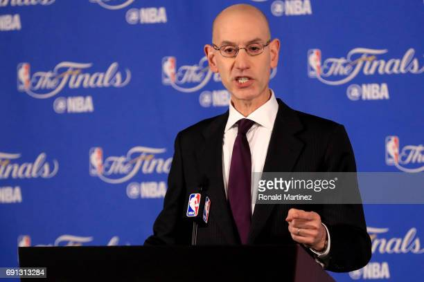 Commissioner Adam Silver speaks to the media before Game 1 of the 2017 NBA Finals at ORACLE Arena on June 1 2017 in Oakland California NOTE TO USER...