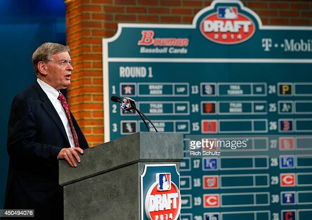 Commissioner Allan H Bud Selig at the podium during the MLB FirstYear Player Draft at the MLB Network Studio on June 5 2014 in Secacucus New Jersey