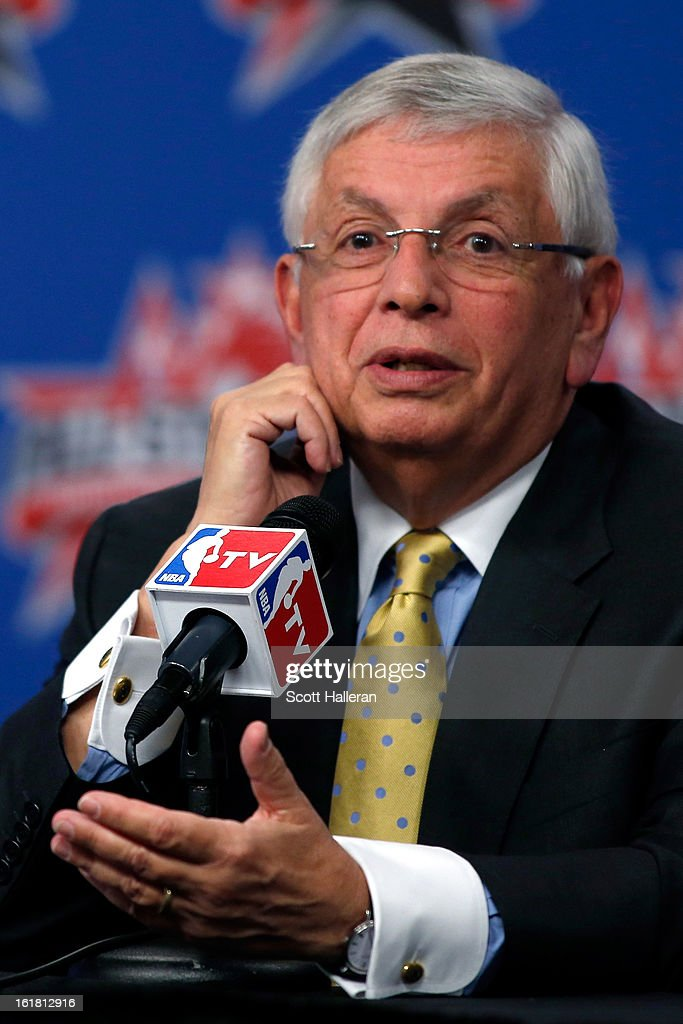 Commissioner <a gi-track='captionPersonalityLinkClicked' href=/galleries/search?phrase=David+Stern&family=editorial&specificpeople=206848 ng-click='$event.stopPropagation()'>David Stern</a> addresses the media before NBA All-Star Saturday Night part of 2013 NBA All-Star Weekend at the Toyota Center on February 16, 2013 in Houston, Texas. NBA Deputy Commissioner Adam Silver will succeed Stern on February 1, 2014.