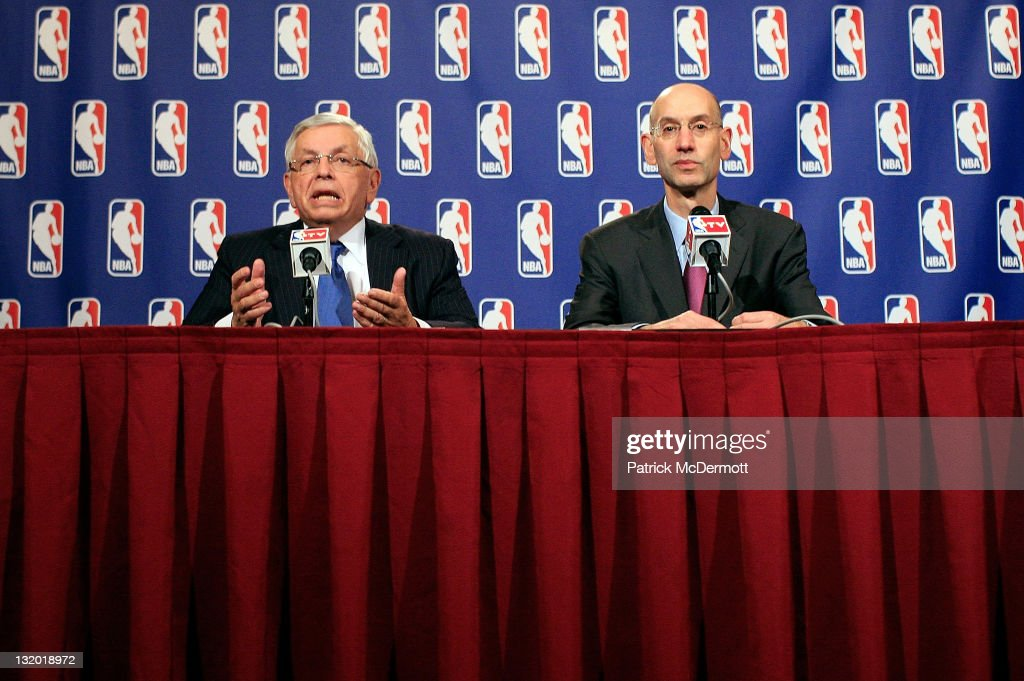 Commissioner <a gi-track='captionPersonalityLinkClicked' href=/galleries/search?phrase=David+Stern&family=editorial&specificpeople=206848 ng-click='$event.stopPropagation()'>David Stern</a> (L) and NBA Deputy Commissioner <a gi-track='captionPersonalityLinkClicked' href=/galleries/search?phrase=Adam+Silver&family=editorial&specificpeople=679055 ng-click='$event.stopPropagation()'>Adam Silver</a> speak at a press conference after NBA labor negotiations at the New York Helmsley Hotel in the early morning hours of November 10, 2011 in New York City.