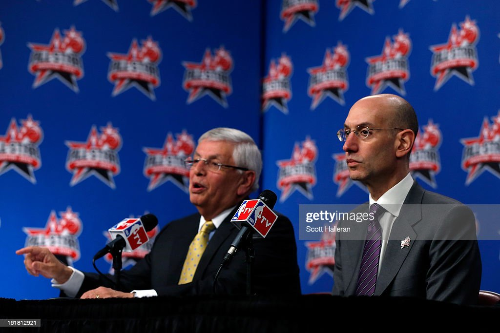 NBA Commissioner <a gi-track='captionPersonalityLinkClicked' href=/galleries/search?phrase=David+Stern&family=editorial&specificpeople=206848 ng-click='$event.stopPropagation()'>David Stern</a> and NBA Deputy Commissioner <a gi-track='captionPersonalityLinkClicked' href=/galleries/search?phrase=Adam+Silver&family=editorial&specificpeople=679055 ng-click='$event.stopPropagation()'>Adam Silver</a> address the media before NBA All-Star Saturday Night part of 2013 NBA All-Star Weekend at the Toyota Center on February 16, 2013 in Houston, Texas. Silver will succeed Stern as commissioner on February 1, 2014.