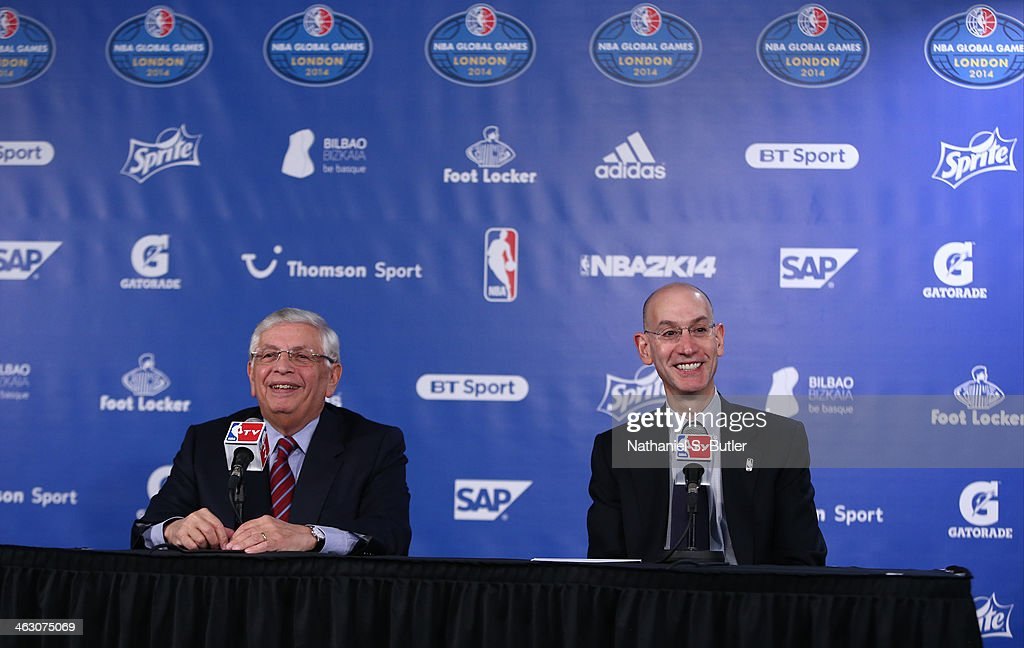 NBA Commissioner David Stern and NBA Deputy Commissioner Adam Silver addresses the media prior to the game of the Brooklyn Nets against the Atlanta Hawks as part of the 2014 Global Games on January 16, 2014 at The O2 Arena in London, England.