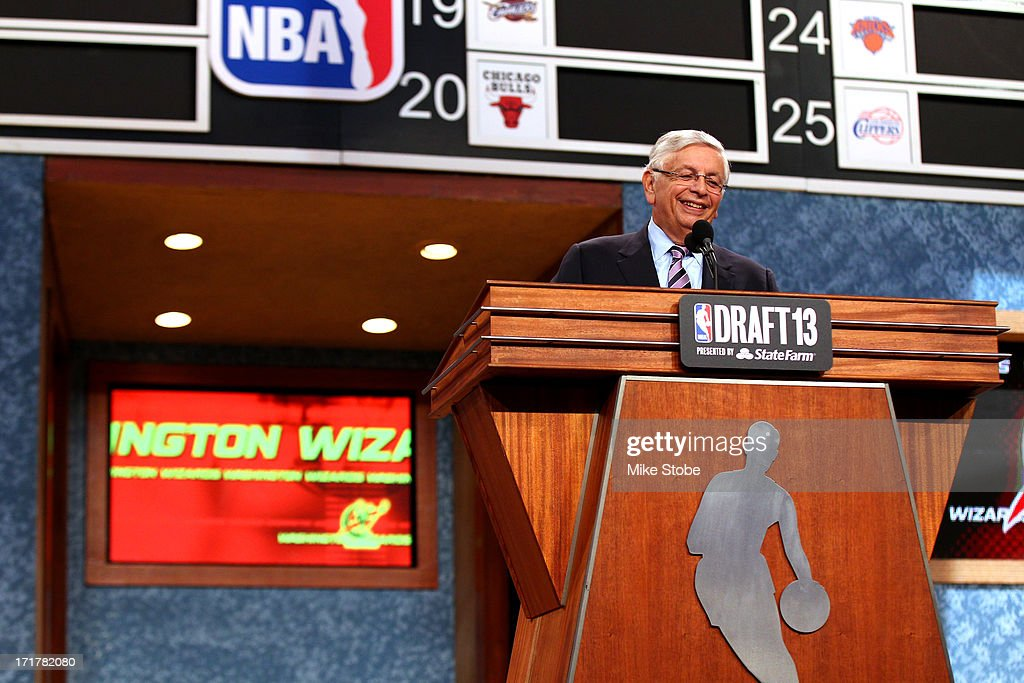 Commissioner David Stern announces Otto Porter of Georgetown as the #3 overall pic in the first round by the Washington Wizards during the 2013 NBA Draft at Barclays Center on June 27, 2013 in in the Brooklyn Borough of New York City.