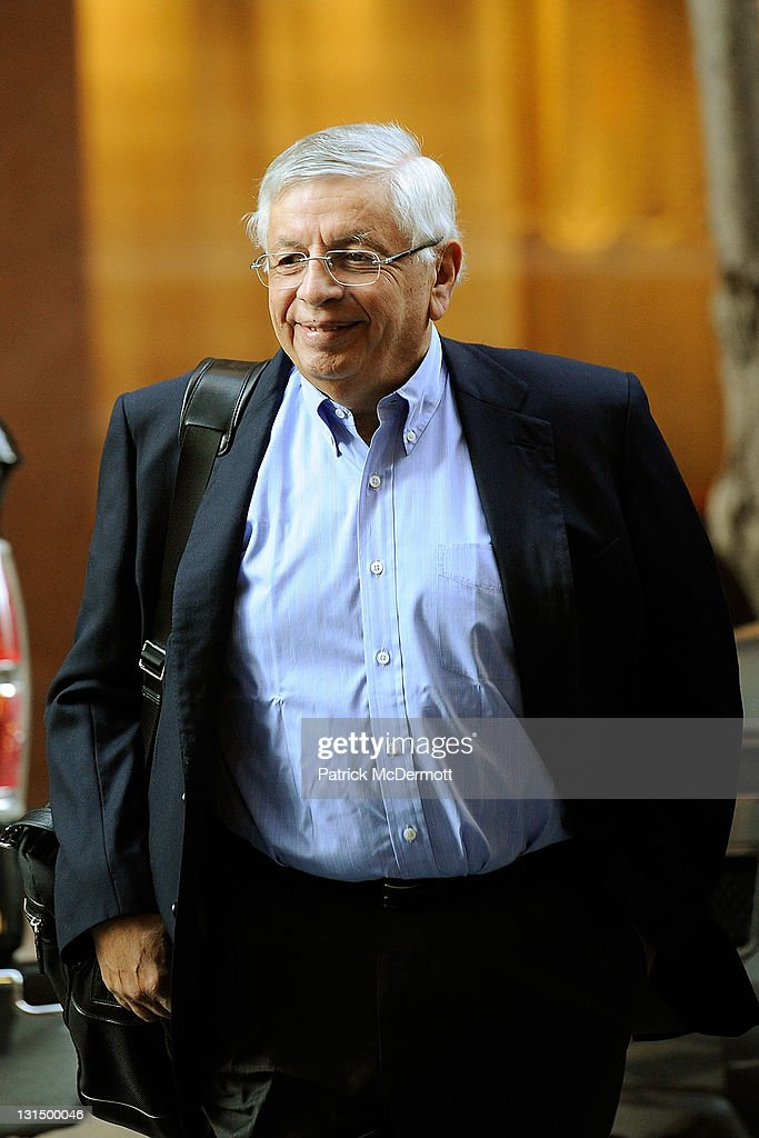 Commissioner <a gi-track='captionPersonalityLinkClicked' href=/galleries/search?phrase=David+Stern&family=editorial&specificpeople=206848 ng-click='$event.stopPropagation()'>David Stern</a> arrives for NBA labor negotiations at Sheraton New York Hotel & Towers on November 5, 2011 in New York City. Players have been seeking 52.5 percent of revenues in their favor but owners want a deal at 53-47 along with a hard sallary cap.
