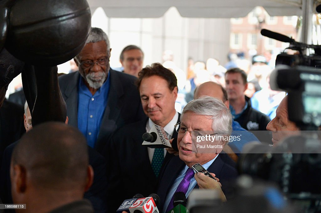 Commissioner <a gi-track='captionPersonalityLinkClicked' href=/galleries/search?phrase=David+Stern&family=editorial&specificpeople=206848 ng-click='$event.stopPropagation()'>David Stern</a> attends the unveiling of the statue in honor of Celtics legend Bill Russell by artist Ann Hirsch at Boston City Hall Plaza on November 1, 2013 in Boston, Massachusetts.