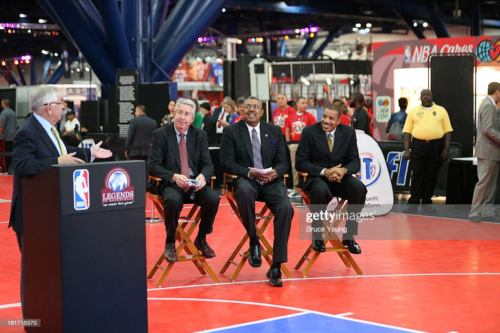 NBA Commissioner David Stern introduces Retired Players Association President and CEO Arnie Fielkow, RPA Chairman of the Board Bob Elliott and RPA Vice Chairman of the Board Otis Birdsong after he announces a 4-year deal extension between the NBA and the RPA, commemorating their 20-year partnership, during the 2013 NBA Jam Session on February 14, 2013 at the George R. Brown Convention Center in Houston, Texas.