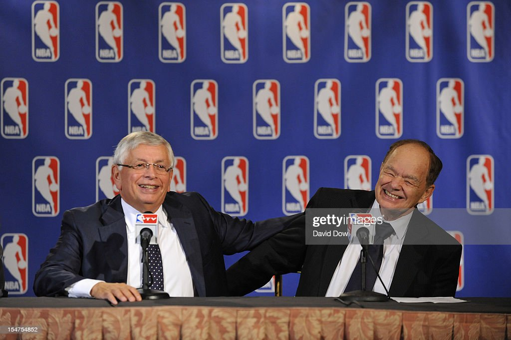 NBA Commissioner David Stern jokes with Glen Taylor, Owner of the Minnesota Timberwolves and former chairman of the Board of Governors during a press conference at the St. Regis Hotel on October 25, 2012 in New York City.