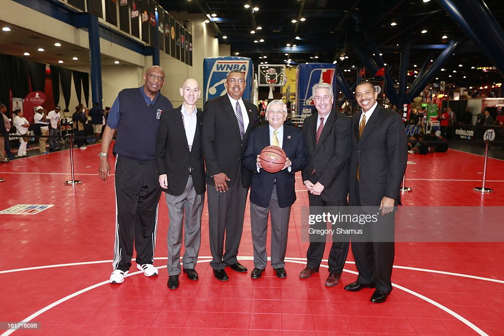 NBA Commissioner David Stern, NBA Commissioner Deputy Commissioner Adam Silver, Retired Players Association President and CEO Arnie Fielkow, RPA Chairman of the Board Bob Elliott, RPA Vice Chairman of the Board Otis Birdsong and NBA Cares Ambassador/Special Assistant to the Commissioner Bob Lanier pose for a photo after a press conference during the 2013 NBA All-Star Jam Session on February 14, 2013 at the George R. Brown Convention Center in Houston, Texas.