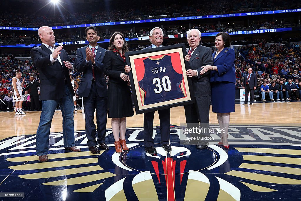 NBA commissioner, <a gi-track='captionPersonalityLinkClicked' href=/galleries/search?phrase=David+Stern&family=editorial&specificpeople=206848 ng-click='$event.stopPropagation()'>David Stern</a>, poses for a picture before the New Orleans Pelicans played against the Los Angeles Lakers on November 8, 2013 at the New Orleans Arena in New Orleans, Louisiana.