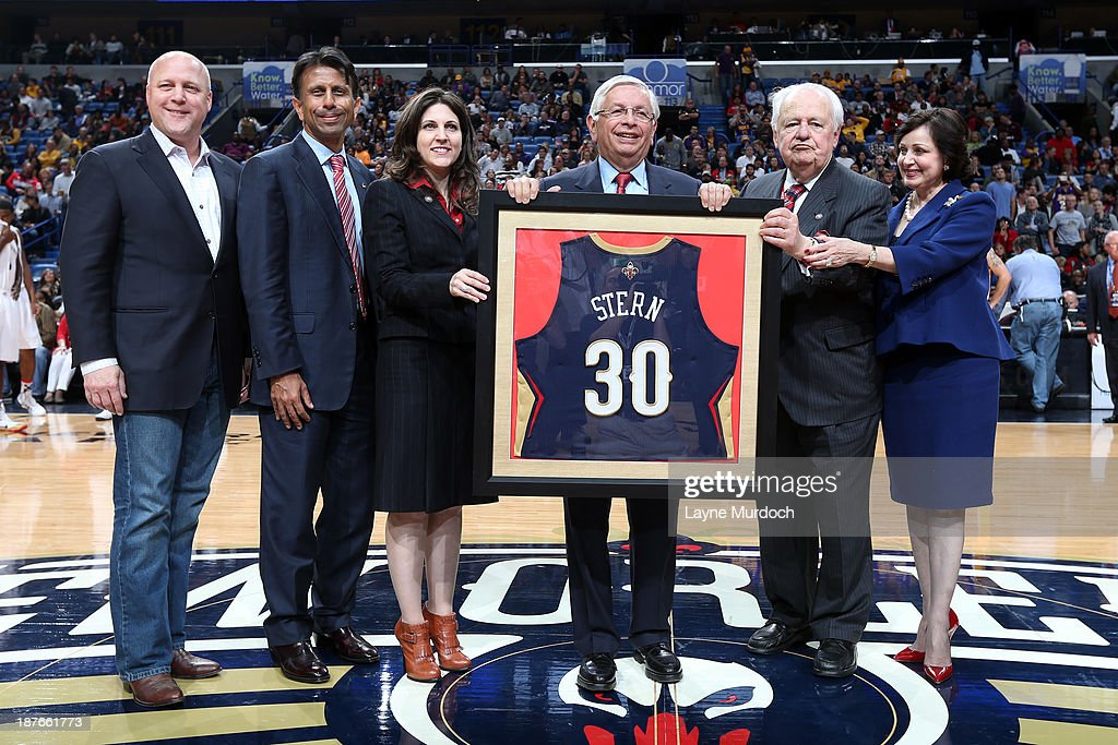 NBA commissioner, David Stern, poses for a picture before the New Orleans Pelicans played against the Los Angeles Lakers on November 8, 2013 at the New Orleans Arena in New Orleans, Louisiana.