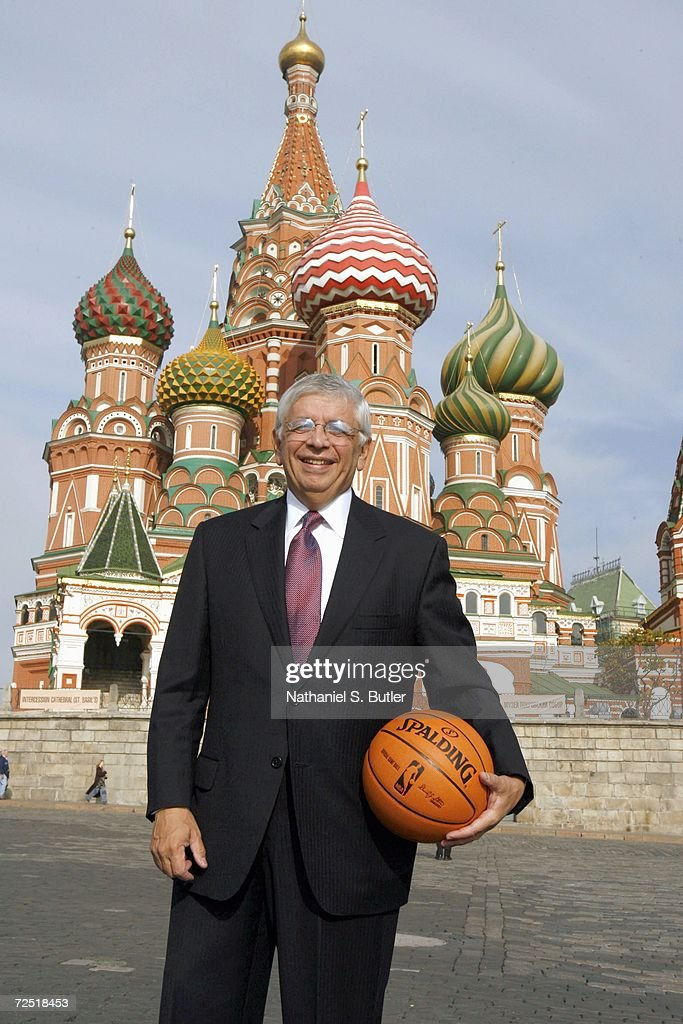 NBA Commissioner David Stern poses with a NBA basketball in Red Square on October 7,2006 in Moscow,Russia.