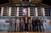 Commissioner David Stern poses with the 2013 NBA Draft Class including Nerlens Noel of Kentucky Victor Oladipo of Indiana Otto Porter of Georgetown...