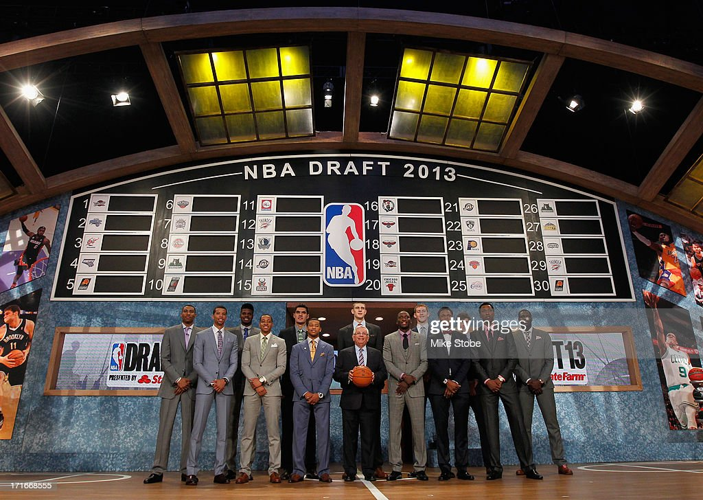 Commissioner David Stern (C) poses with the 2013 NBA Draft Class including Nerlens Noel of Kentucky, Victor Oladipo of Indiana, Otto Porter of Georgetown, Alex Len of Maryland, Ben McLemore of Kansas, Trey Burke of Michigan, Anthony Bennett of UNLV and MIchael Carter-Williams of Syracuse during the 2013 NBA Draft at Barclays Center on June 27, 2013 in in the Brooklyn Bourough of New York City.