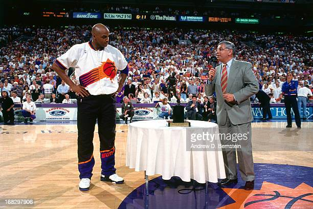 Commissioner David Stern presents Charles Barkley of the Phoenix Suns the MVP trophy prior to Game Two of the Western Conference Semifinals on May 13...