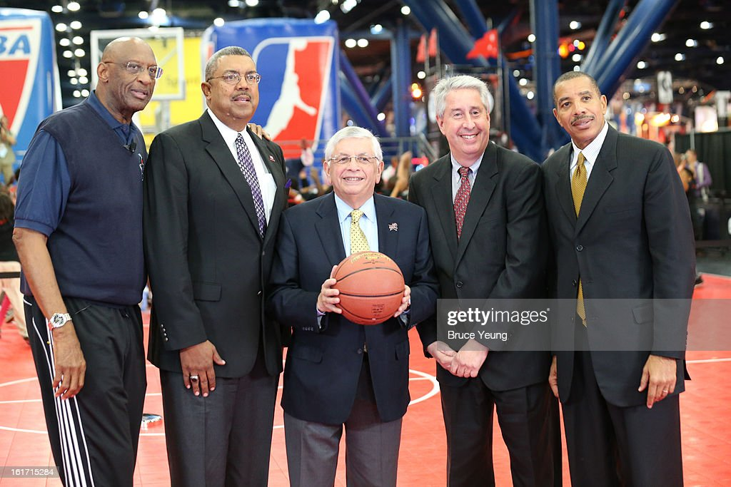 NBA Commissioner David Stern, Retired Players Association President and CEO Arnie Fielkow, RPA Chairman of the Board Bob Elliott, RPA Vice Chairman of the Board Otis Birdsong and NBA Cares Ambassador/Special Assistant to the Commissioner Bob Lanier pose for a photo after a press conference during the 2013 NBA Jam Session on February 14, 2013 at the George R. Brown Convention Center in Houston, Texas.