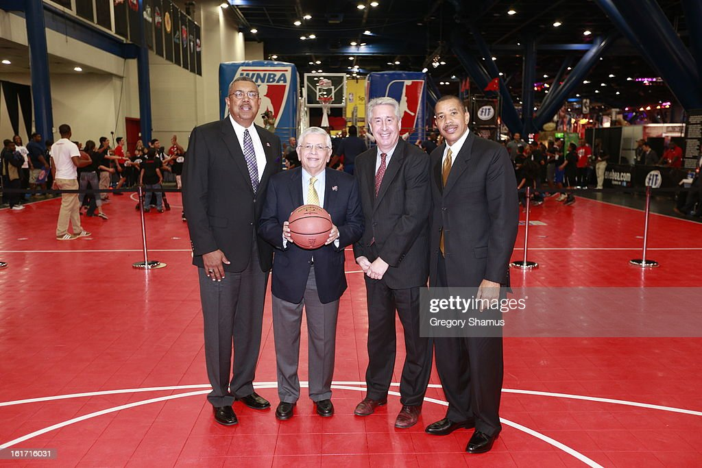 NBA Commissioner David Stern, Retired Players Association President and CEO Arnie Fielkow, RPA Chairman of the Board Bob Elliott and RPA Vice Chairman of the Board Otis Birdsong pose for a photo after a press conference during the 2013 NBA All-Star Jam Session on February 14, 2013 at the George R. Brown Convention Center in Houston, Texas.