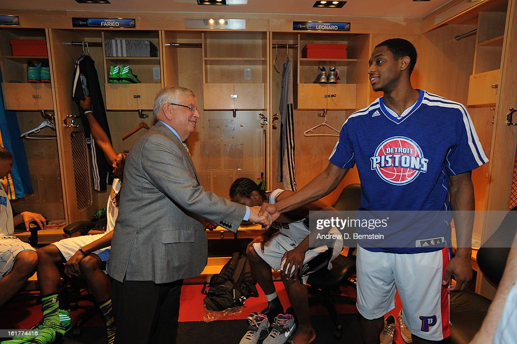NBA Commissioner, David Stern, shakes hands with Brandon Knight #7 of Team Chuck before a game against Team Shaq during the 2013 BBVA Rising Stars Challenge at Toyota Center on February 15, 2013 in Houston, Texas.