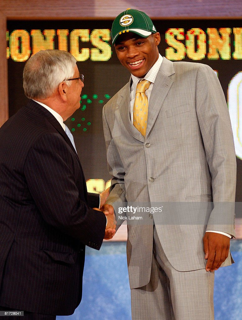 Commissioner David Stern shakes hands with number four draft pick for the Seattle SuperSonics, Russell Westbrook during the 2008 NBA Draft at the Wamu Theatre at Madison Square Garden June 26, 2008 in New York City.
