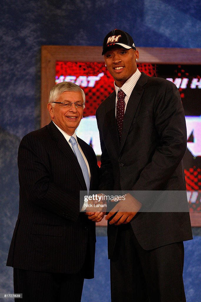 Commissioner David Stern shakes hands with number two draft pick for the Miami Heat, Michael Beasley during the 2008 NBA Draft at the Wamu Theatre at Madison Square Garden June 26, 2008 in New York City.