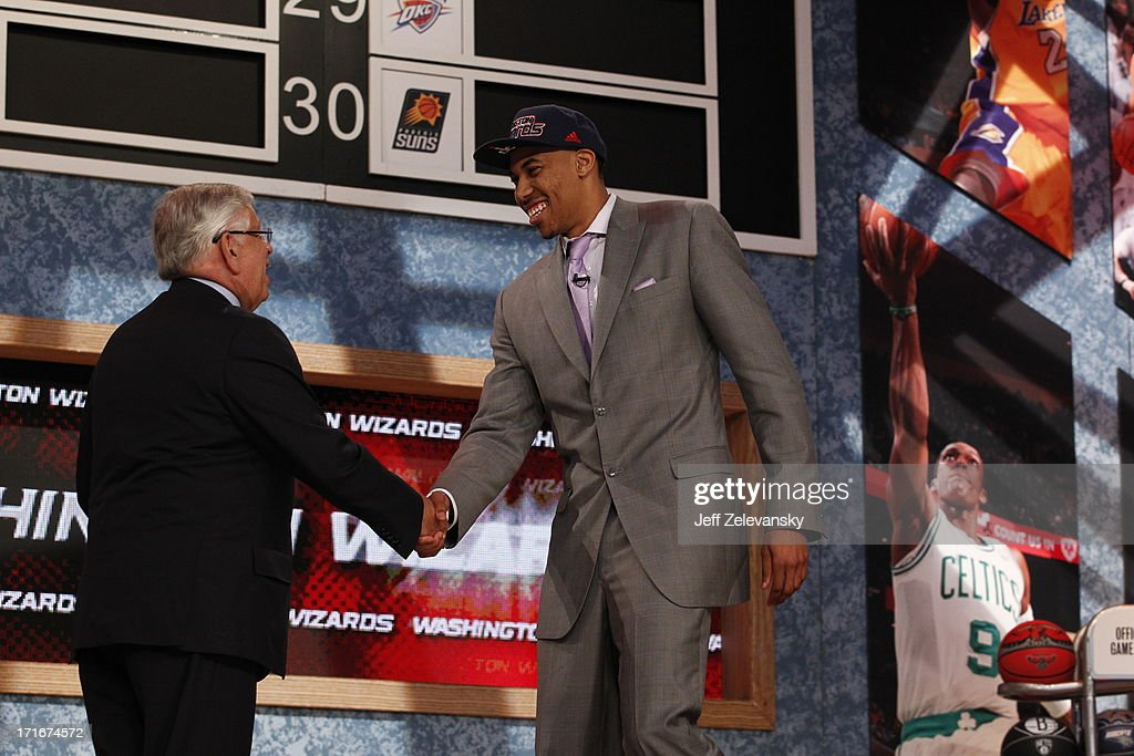 NBA Commissioner David Stern shakes hands with Otto Porter who is drafted number 3 overall by the Washington Wizards during the 2013 NBA Draft at the Barclays Center on June 27, 2013 in the Brooklyn borough of New York City.