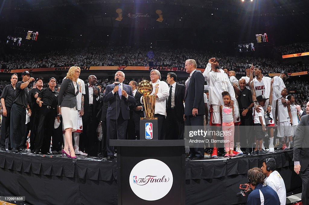 NBA Commissioner, David Stern, speaks during the Larry O'Brien Trophy presentation after the Miami Heat defeated the San Antonio Spurs in Game Seven of the 2013 NBA Finals on June 20, 2013 at the American Airlines Arena in Miami, Florida.