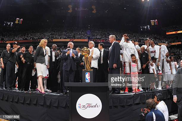 Commissioner David Stern speaks during the Larry O'Brien Trophy presentation after the Miami Heat defeated the San Antonio Spurs in Game Seven of the...