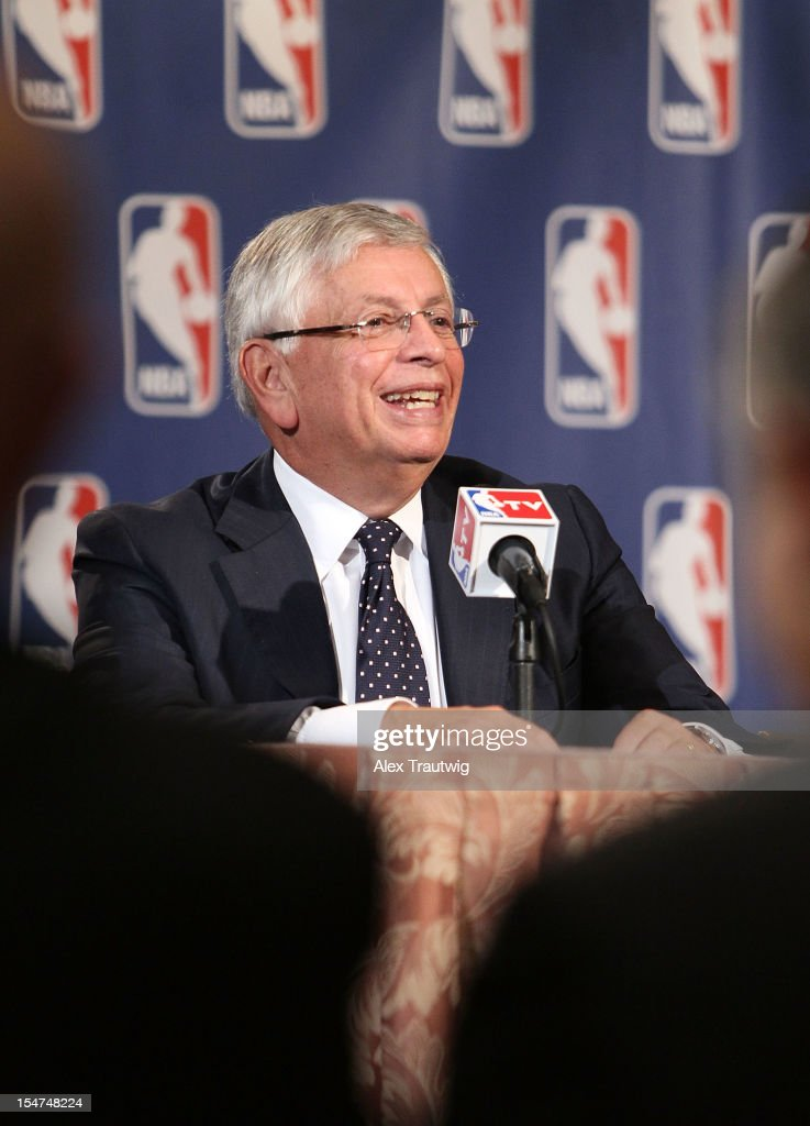 Commissioner David Stern speaks to the media following the NBA Board of Governors Meeting, during which he outlined his plans to step down in February 2014, at the St. Regis hotel on October 25, 2012 in New York City.