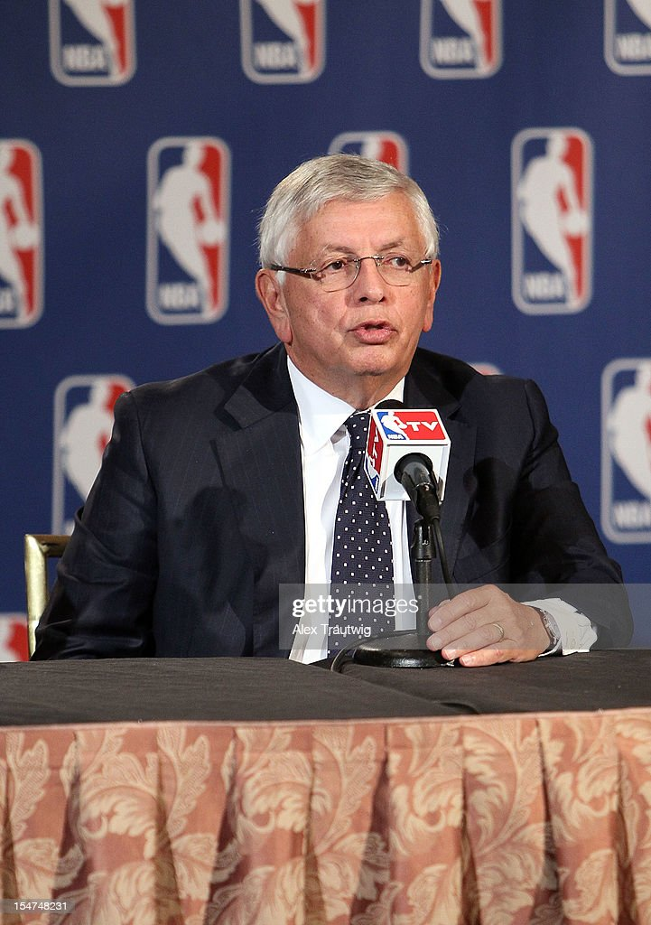 Commissioner <a gi-track='captionPersonalityLinkClicked' href=/galleries/search?phrase=David+Stern&family=editorial&specificpeople=206848 ng-click='$event.stopPropagation()'>David Stern</a> speaks to the media following the NBA Board of Governors Meeting, during which he outlined his plans to step down in February 2014, at the St. Regis hotel on October 25, 2012 in New York City.