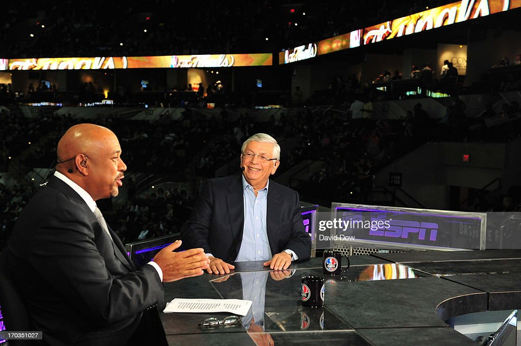 NBA Commissioner, David Stern talks with ESPN commentator, Michael Wilbon, before Game Three of the 2013 NBA Finals between the Miami Heat and the San Antonio Spurs on June 11, 2013 at AT&T Center in San Antonio, Texas.