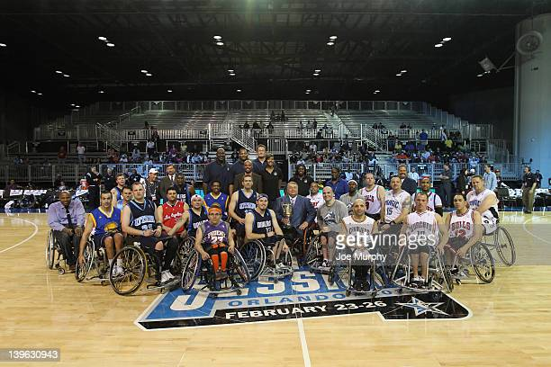 Commissioner Dick Bryant Honorary Coaches of the West team NBA Legend Robert Horry and Marie FerdinandHarris of the Phoenix Mercury and Honorary...